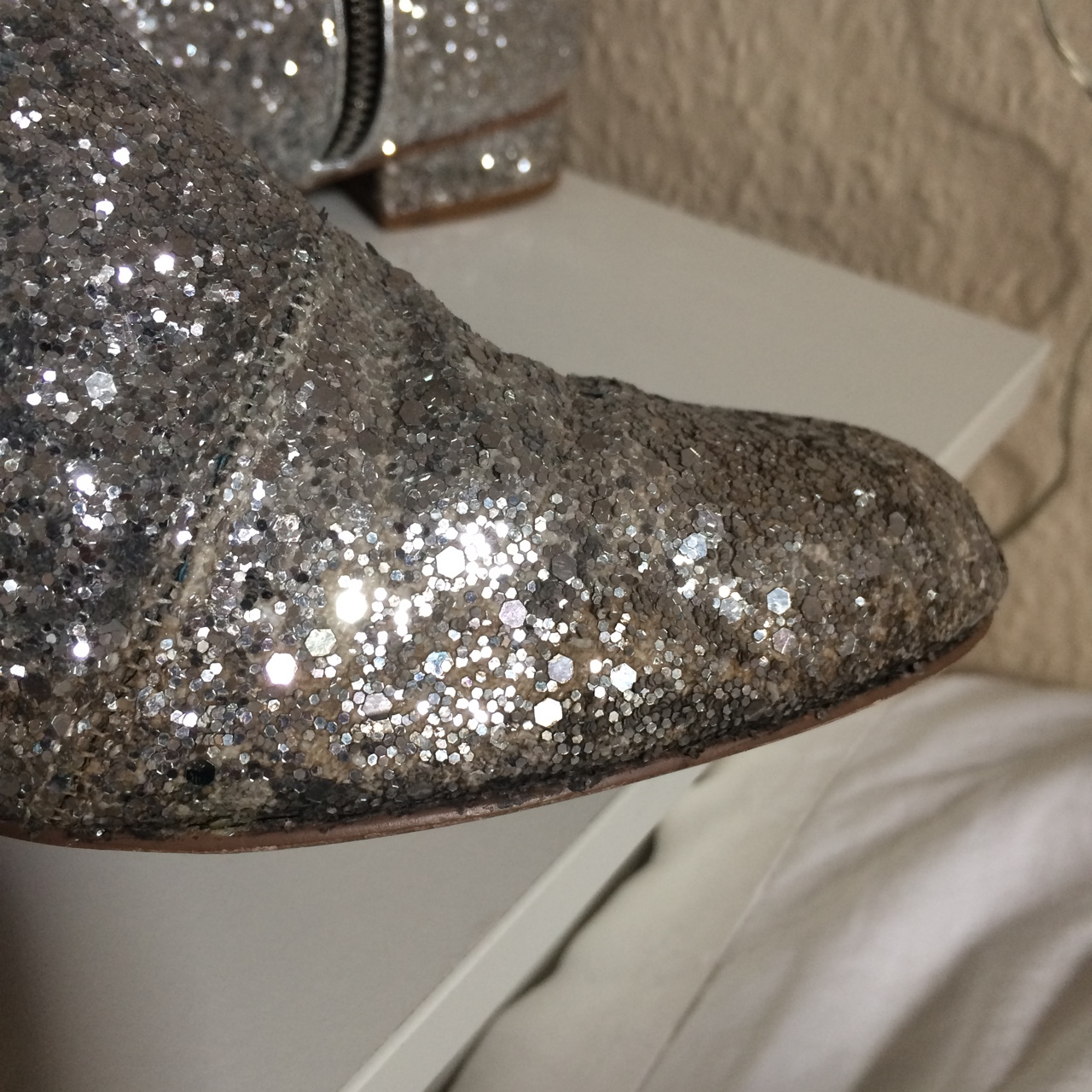 ASOS silver glitter flat ankle boots
