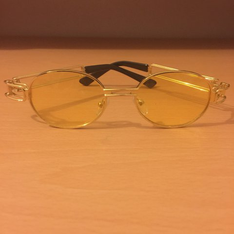 780743f911d YELLOW TINTED RETRO OVAL GLASSES - migos