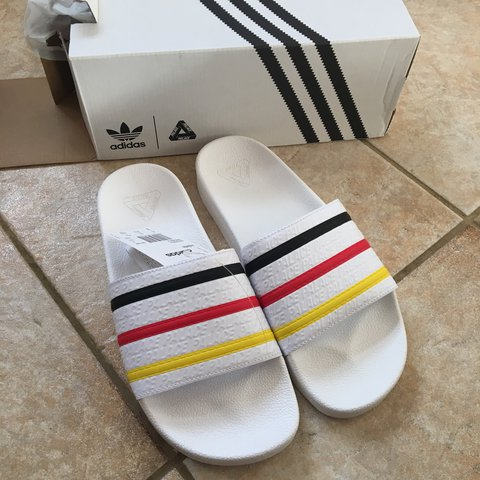 3b795822d Palace x Adidas adilette sliders ~ UK 9 ~ Germany   White   - Depop