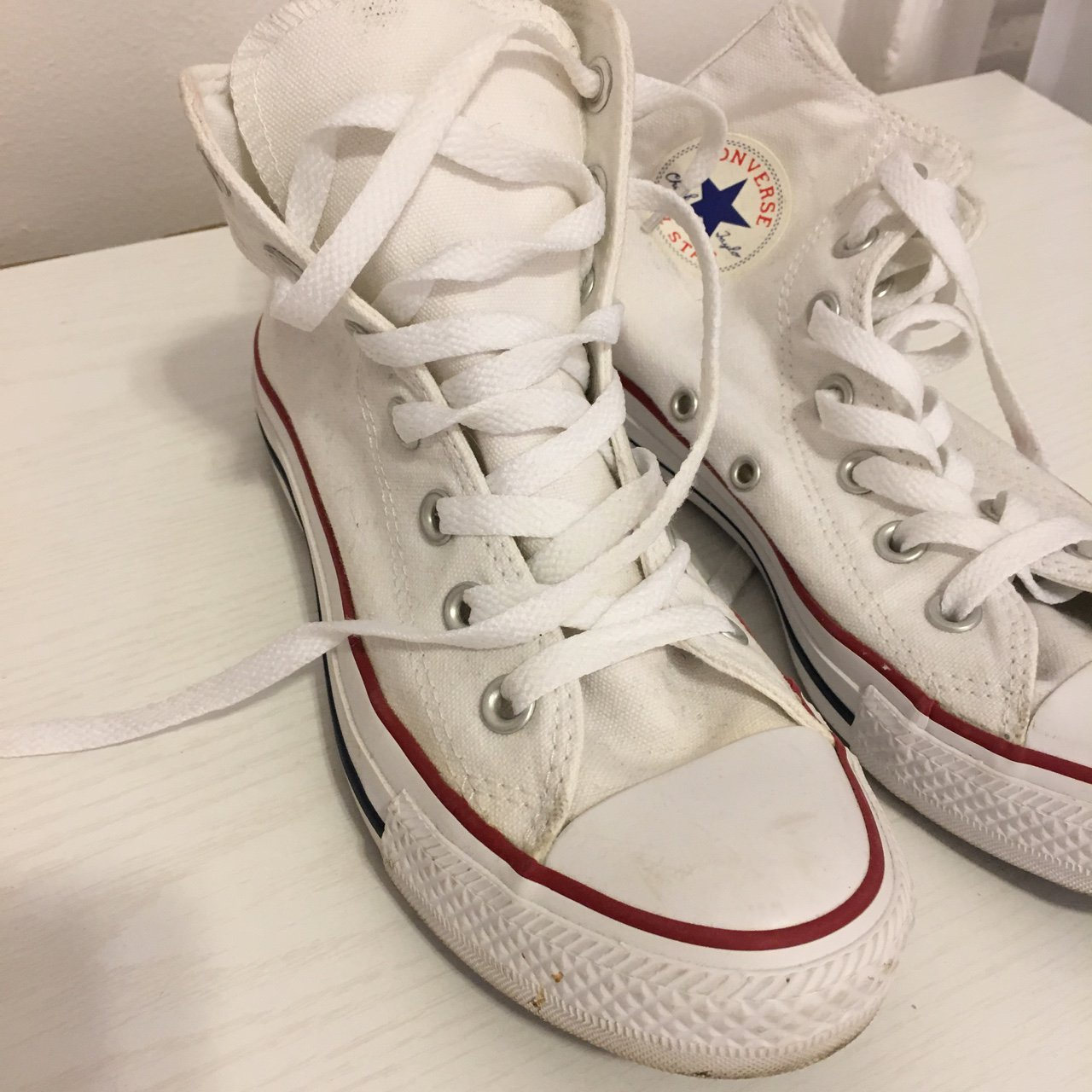 448964b2b1d classic converse high tops. Only worn a few times. Very in - Depop