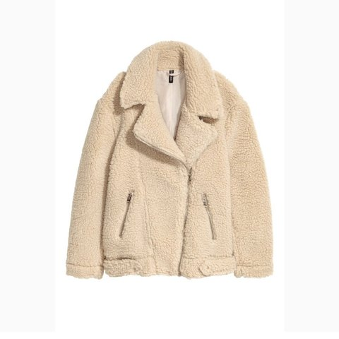 111f07700 SELLING H&M beige teddy bear biker jacket, size 6 but could - Depop