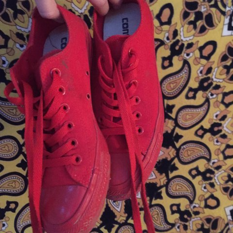 THESE ARE SOLD !!! 🎲BRIGHT RED CONVERSE🎲 size 4 4.5 (could - Depop fbfe5d5d2
