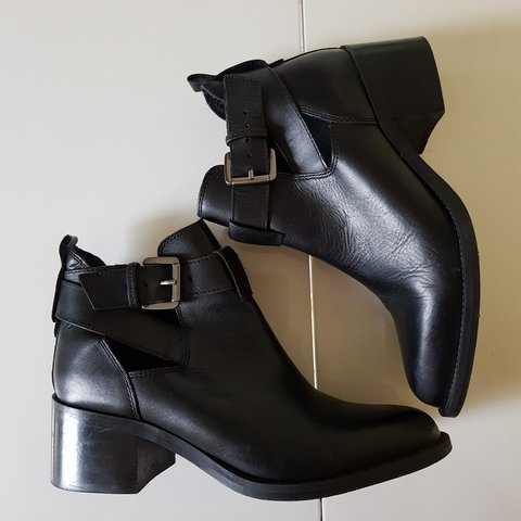 Black leather ankle boots, size 4 with