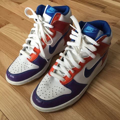 ee1b52426a22 Nike sb dunk high rainbow multicolored no insoles! Size 5.5 - Depop