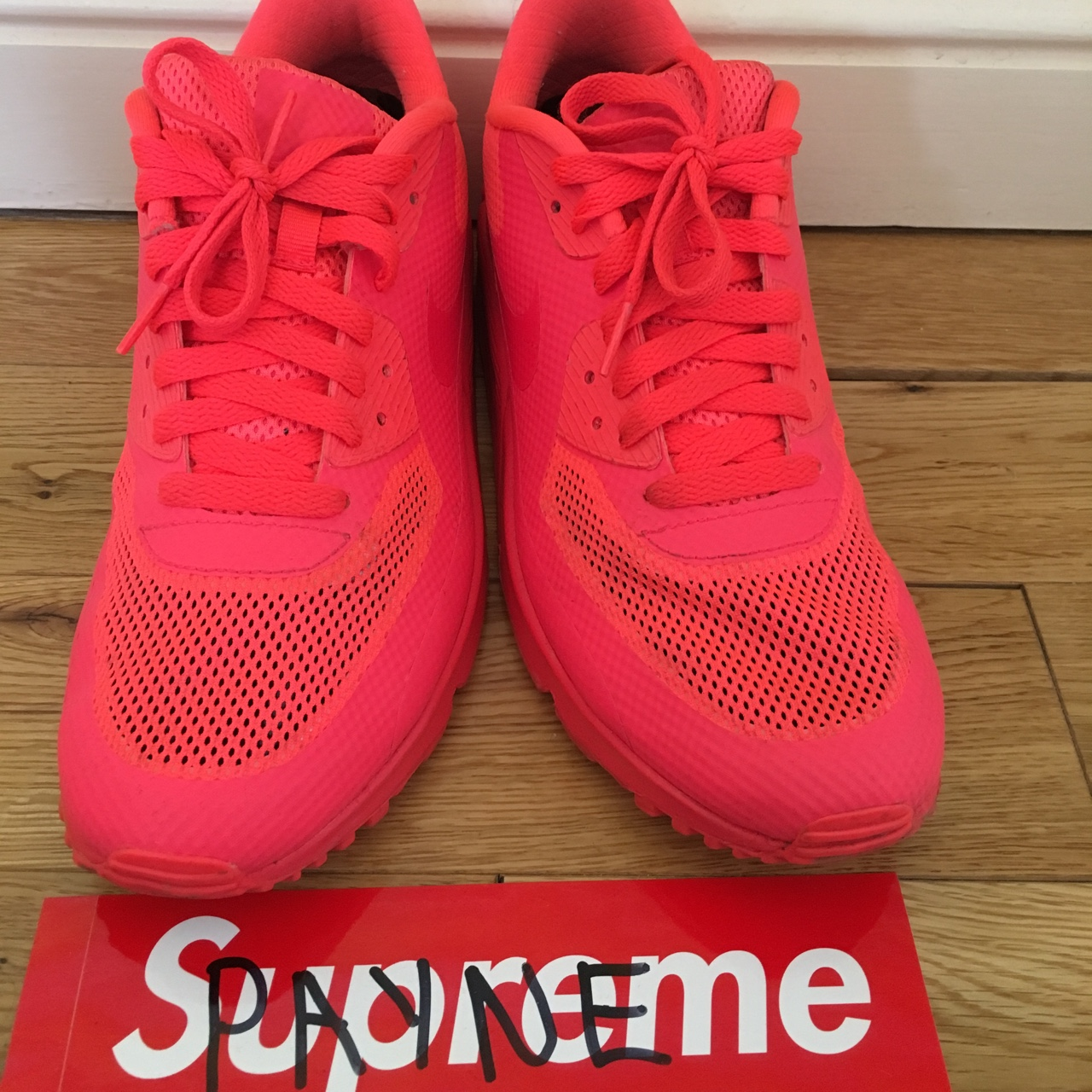 Air Max 90 Hyperfuse Nike ID Solar Red Size 7. Open Depop