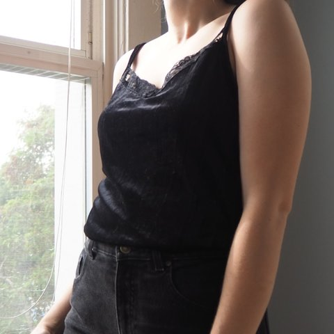 8cafe7359137f ON SALE FROM  9- Black lace velvet camisole top with thick - Depop