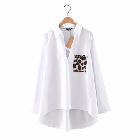 370218f949724 White blouse with leopard print pocket detail Zara style - Depop