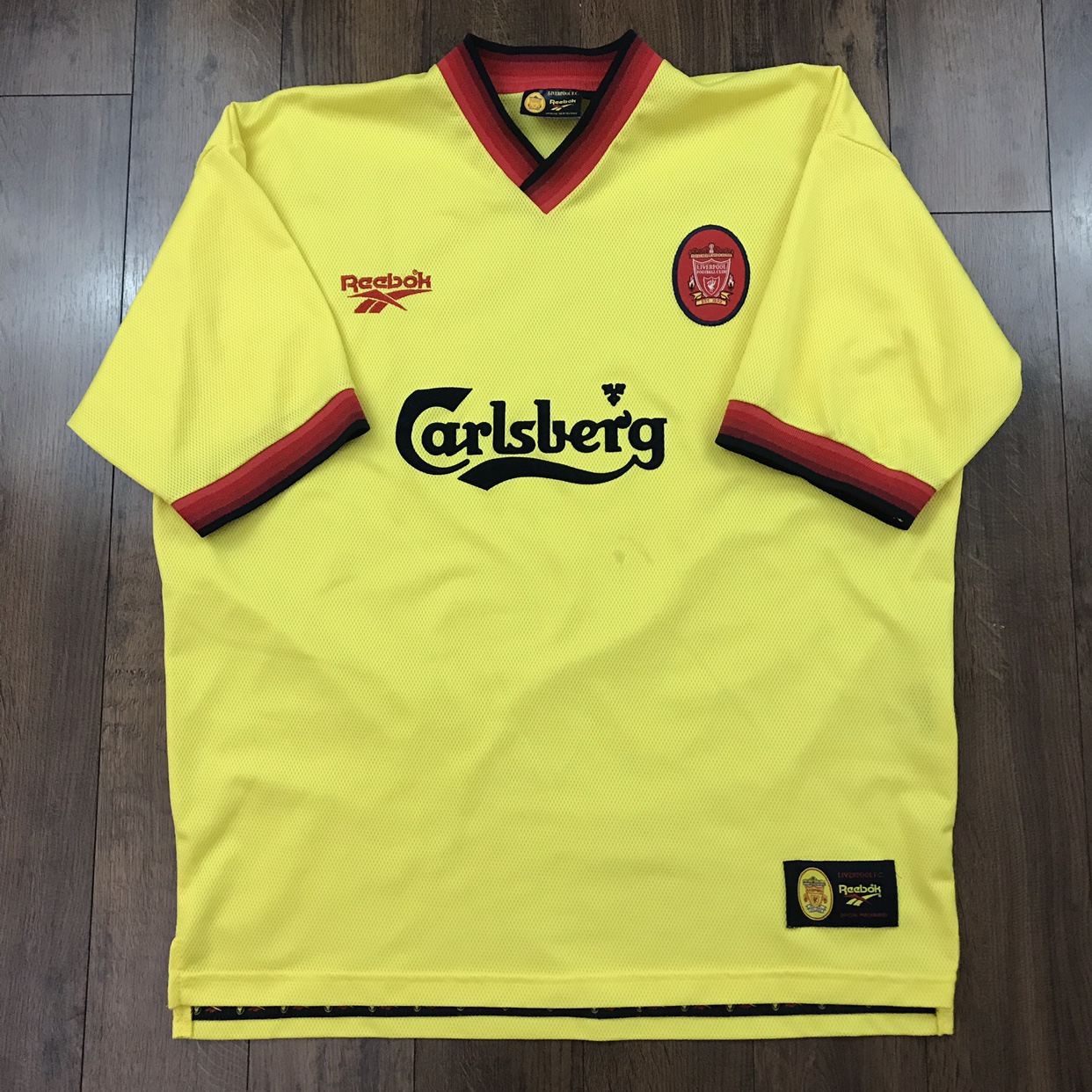 the best attitude 5e3d9 8238e RARE Vintage 90's Liverpool FC Away Yellow Reebok ...