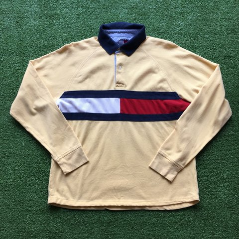 e0b4356be Tommy Hilfiger Long sleeve polo Light yellow colour with to - Depop