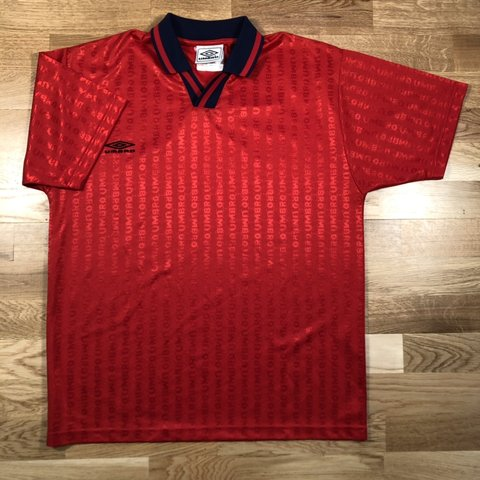 3f7c4ad9ad Umbro football style T-shirt Red with repeat spell out all - Depop
