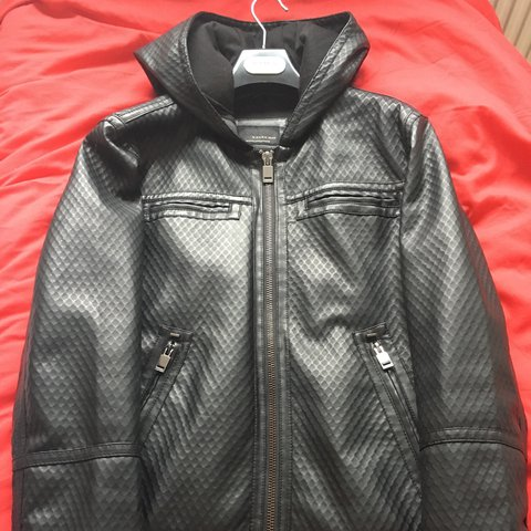 Zara Men S Leather Jacket With Hood Size Medium Bought Depop