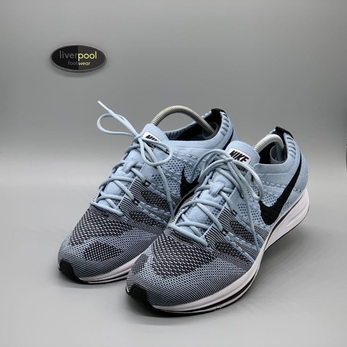 clearance prices save up to 80% lace up in Nike Flyknit Trainer - Baby Blue - Worn Once - UK... - Depop