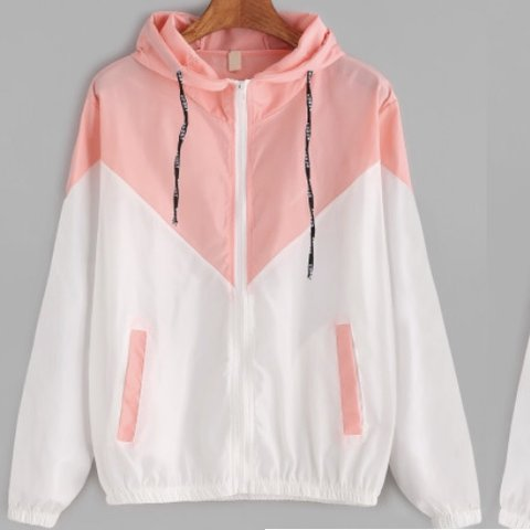 9ee32f52c NEVER WORN OUTSIDE Unique hooded baby pink and white jacket - Depop