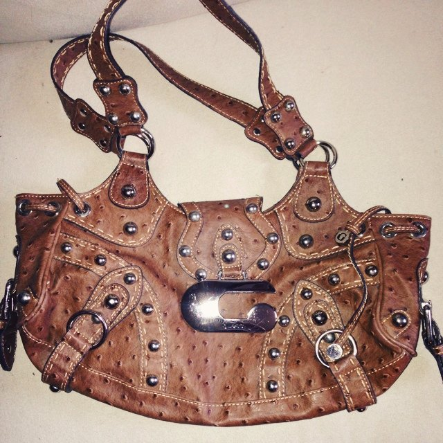 Guess brown leather bag with embossed ostrich