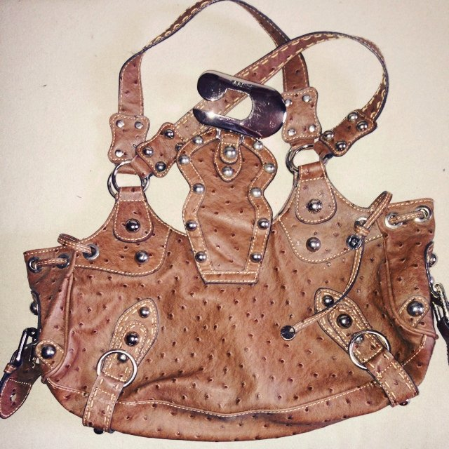 56b5cf55ed Guess brown leather bag with embossed ostrich print and - Depop
