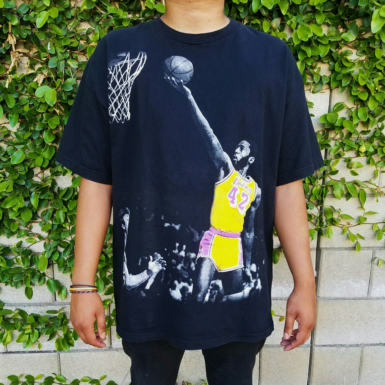 purchase cheap d714b abec9 Los Angeles Lakers Big Game James Worthy T-Shirt.... - Depop