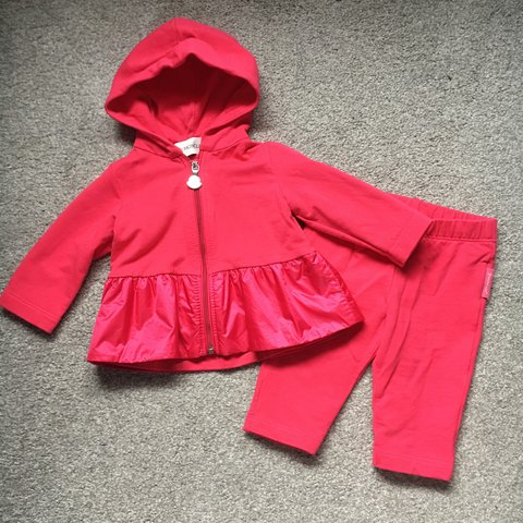 80d1c33b3 Genuine baby girls moncler hot pink tracksuit, good worn a - Depop