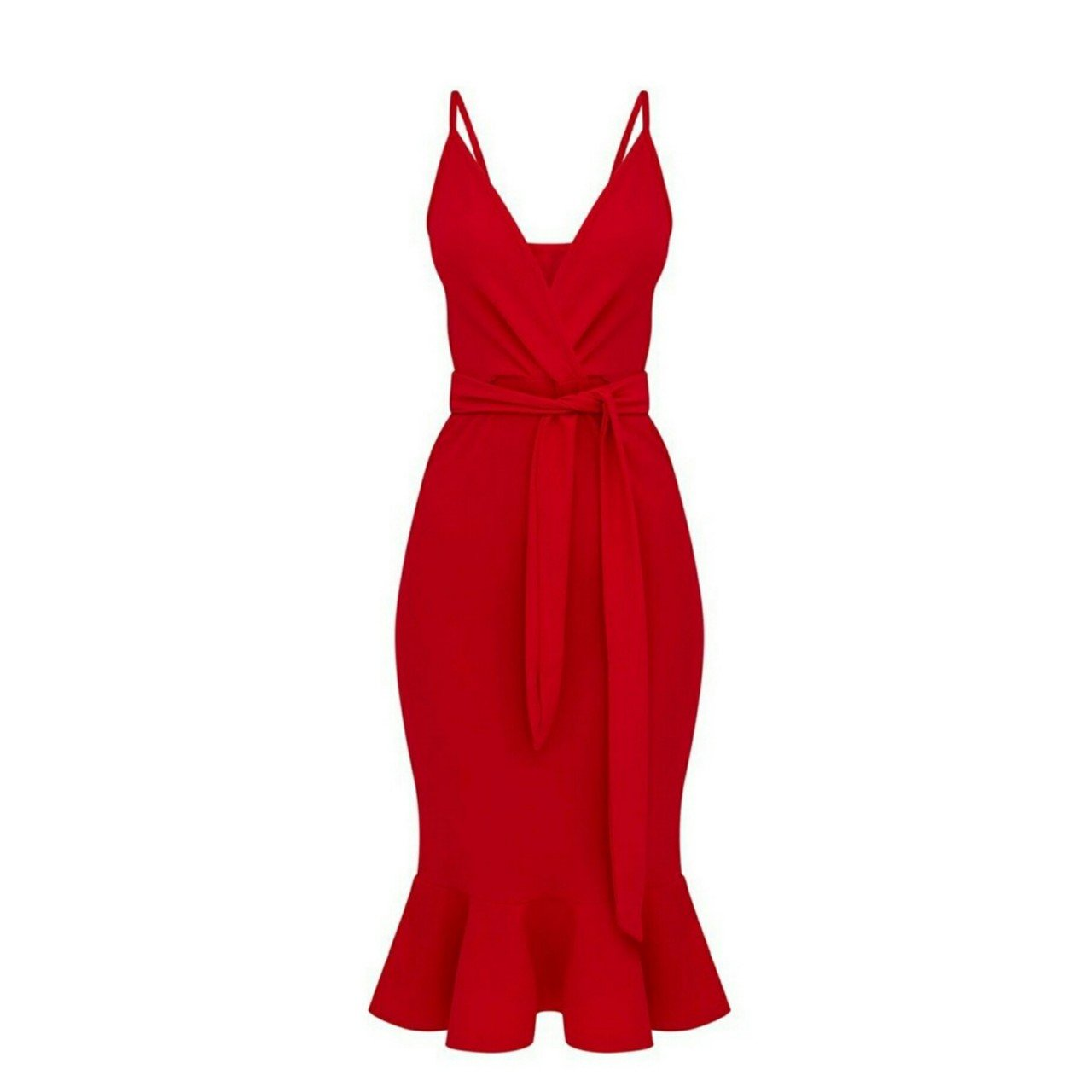 219a846da1d5 @cairen2706. 8 months ago. Upton, West Yorkshire, United Kingdom. PLT Pretty  Little Thing red strappy tie waist fishtail midi dress - UK size 10