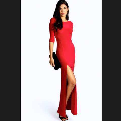 abc913ed56 Red petite maxi dress from boohoo. Featuring a high neck