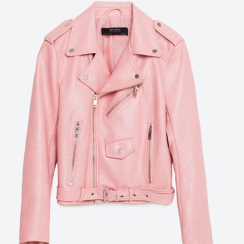 968836f4a393 PRICE DROP Zara baby pink leather jacket rrp 59.99 sold out - Depop