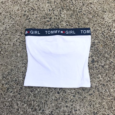 a55c0de2883 ON HOLD Vintage Tommy Hilfiger Tommy Girl Boob Tube white - Depop