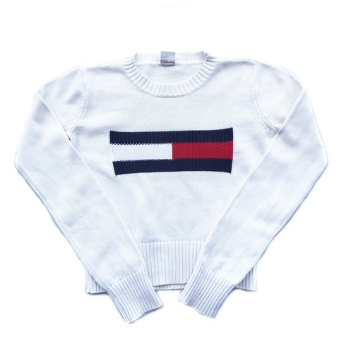 2c954e5a @alvintage. 6 months ago. Killarney Heights, Australia. Vintage Tommy  Hilfiger Big Flag Knitted Sweater.