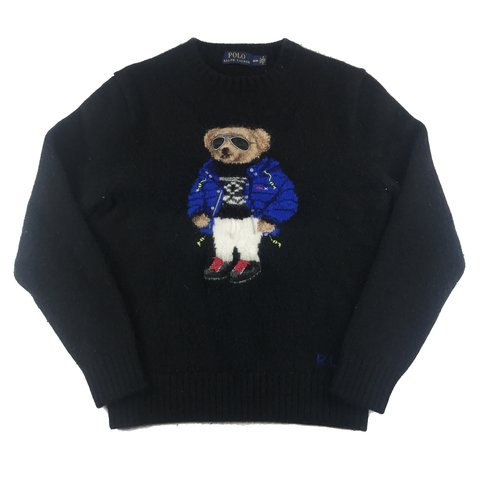 bd91da9e7 Ralph Lauren Polo Bear Wool Sweater. Super soft black wool - Depop