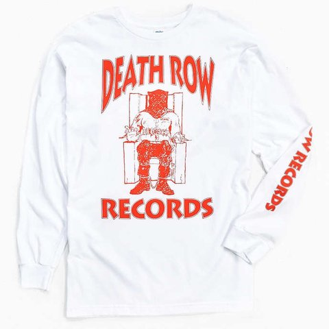 Vintage Death Row Long Sleeve White Red Font Depop