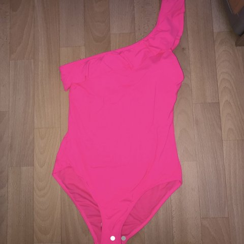 359b669b0713d2 Neon hot pink one shoulder ruffle swimsuit Great condition - Depop