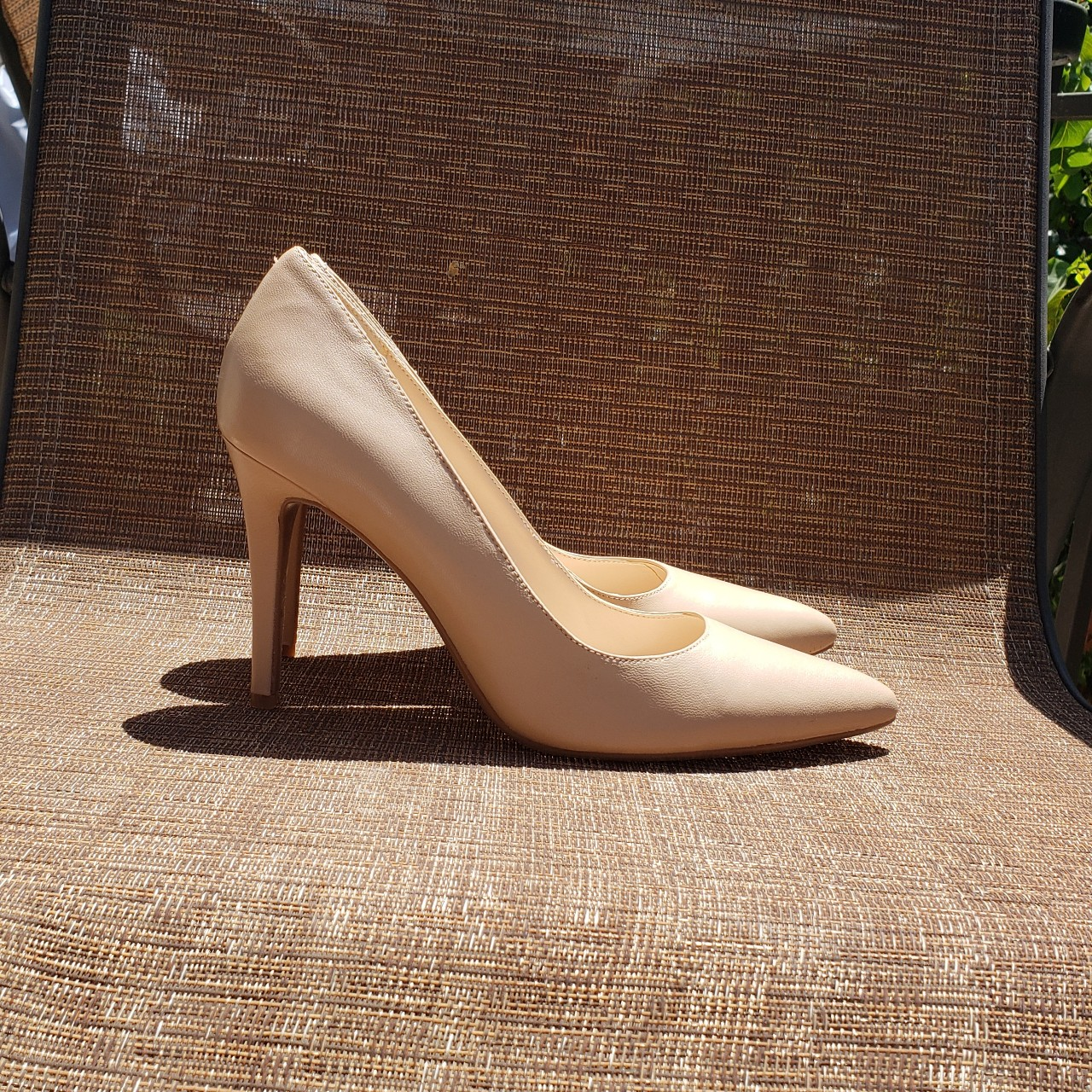 Nine West Flax Pointed Toe Pumps in NudeCream. Size