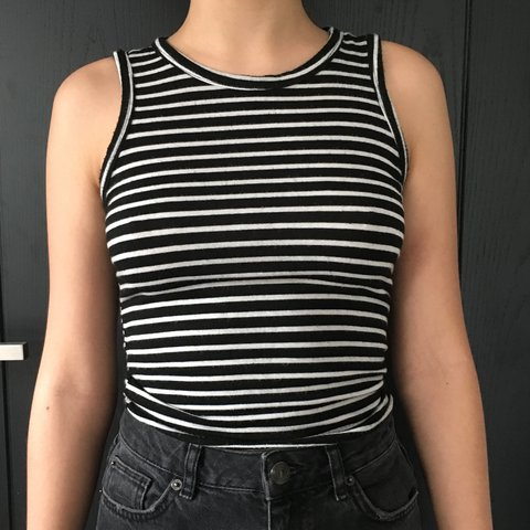 c597ae4a44f656 @pebblesfisher. 2 years ago. London, UK. Super cute black and white striped  brandy Melville top- so ...