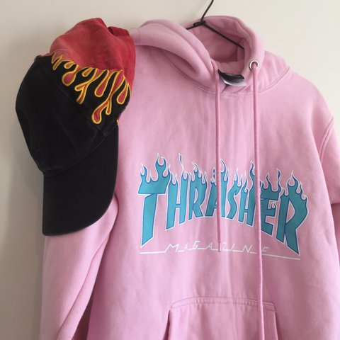 02a0f5bf876b genuine pink and blue thrasher hoodie 🔥 size M peng but me - Depop