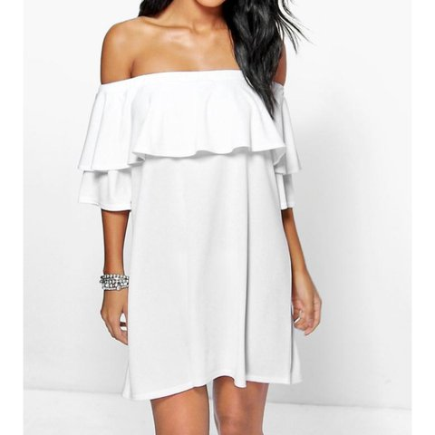 f77613ab PRICE INCLUDES P&P Boohoo white Bardot off the shoulder in - Depop