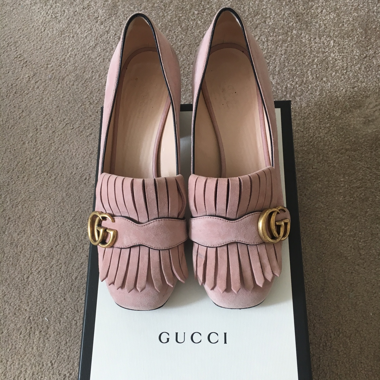 Gucci Marmont suede pink loafers size