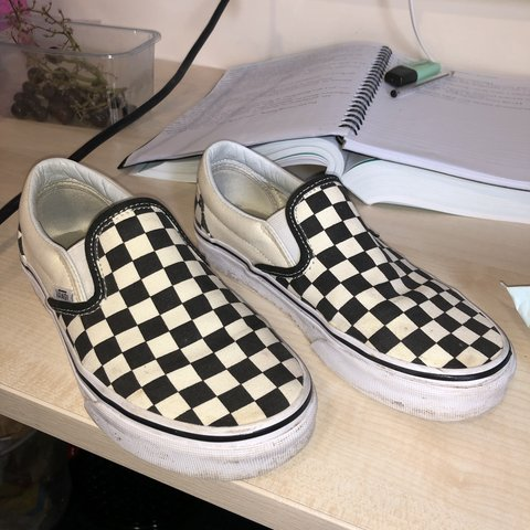 4a1057762d Unisex checkerboard slip on vans black and white size 3.5 a - Depop