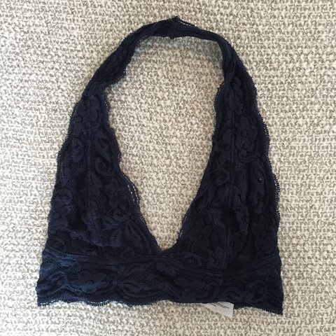 21649667826de2 Urban Outfitters Pins and Needles navy lace halter bralette - Depop
