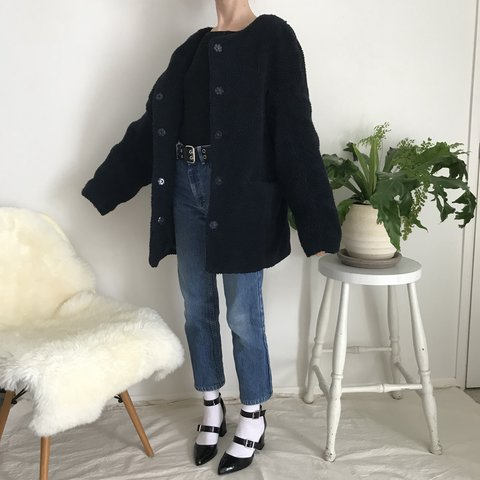 60190f1fb Navy blue teddy bear coat by Glassons 🐻 so comfortable   v - Depop