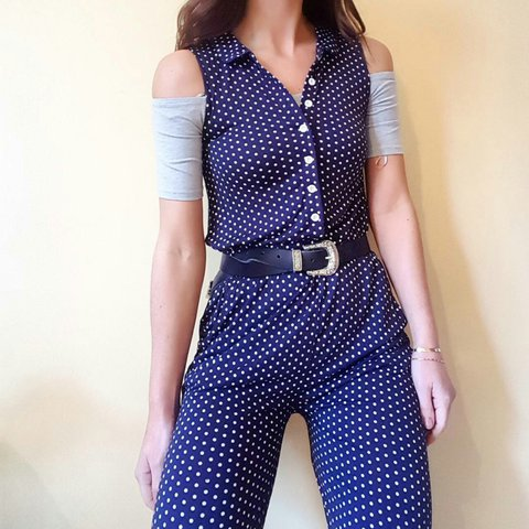 7be8f9d31630 Vintage navy blue and white polka dot jumpsuit with side and - Depop