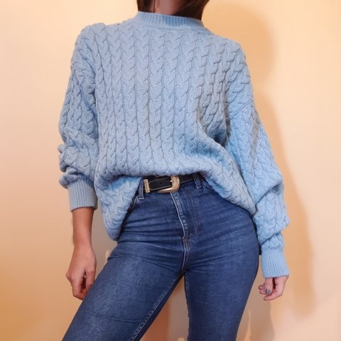 bb9203223 Vintage baby blue oversized jumper. Cable knit pattern. soft - Depop