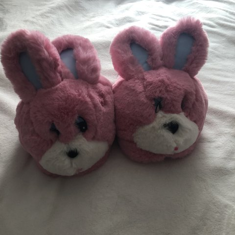 38e524fead57 Lazy Oaf Bunny slippers💕 Super cute and never worn One but - Depop