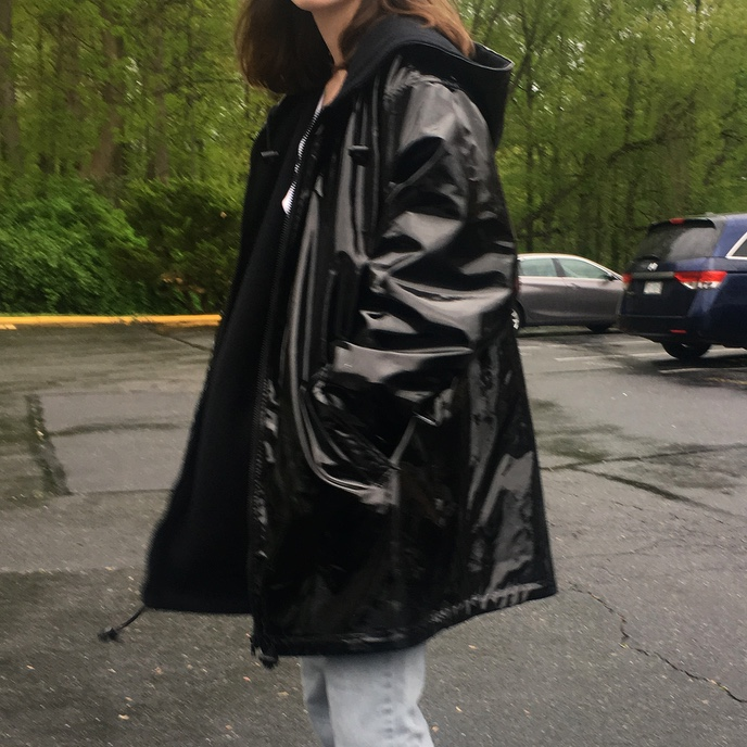 Black Vinyl Rain Jacket Stay Dry And Look Cool Depop