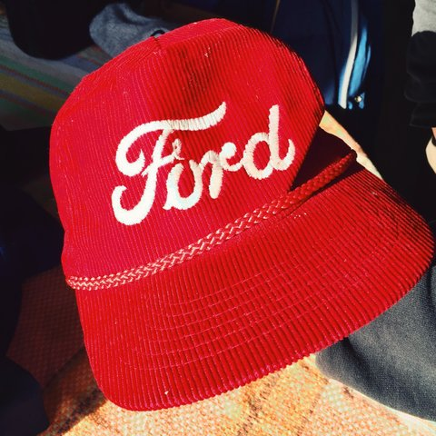 4557cb953741a VINTAGE Corduroy trucker hat. Embroidered FORD logo. In  hat - Depop