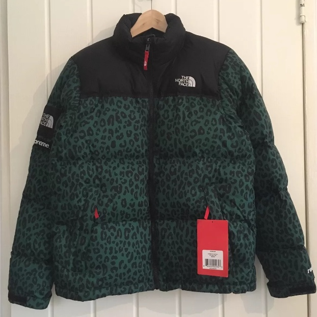 9faf1da7c Supreme x north face green leopard print nuptse down... - Depop