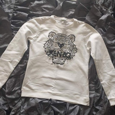 0a4cb30b Selling kids kenzo white jumper, size kids 14 (but fits a a - Depop