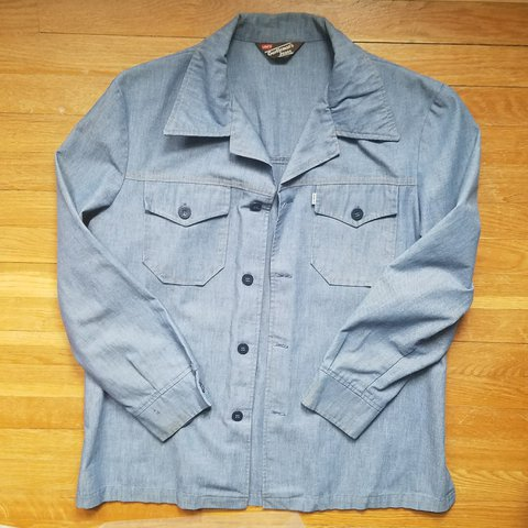 202d43a6699 Vintage Levi s denim overshirt. Has some small stains over L - Depop