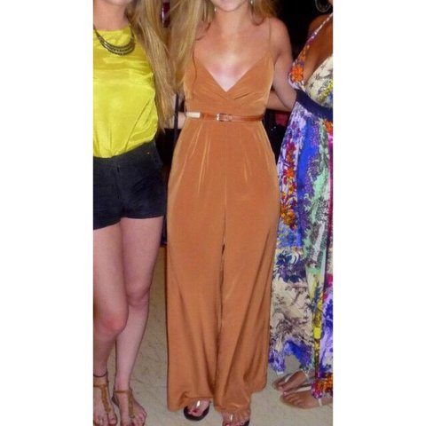 7b0f3a218d30 Gorgeous tan wide leg jumpsuit - size 8 worn once and in not - Depop
