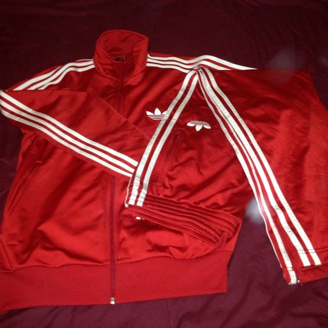 4dc394afe544 Red   white Adidas tracksuit MENS size LARGE! Worn a few but - Depop