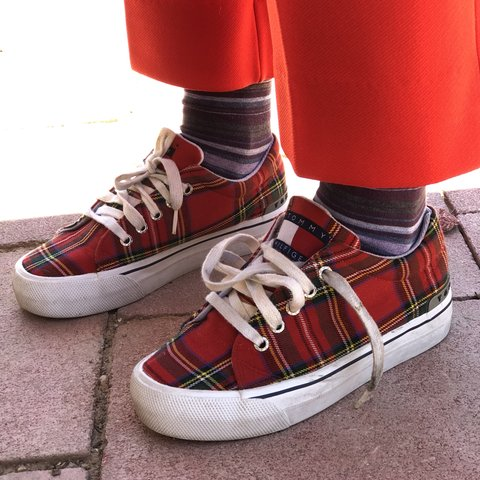 cab01d8bb7e Vintage 90s Red Plaid Tommy Hilfiger Platform Sneakers! are - Depop