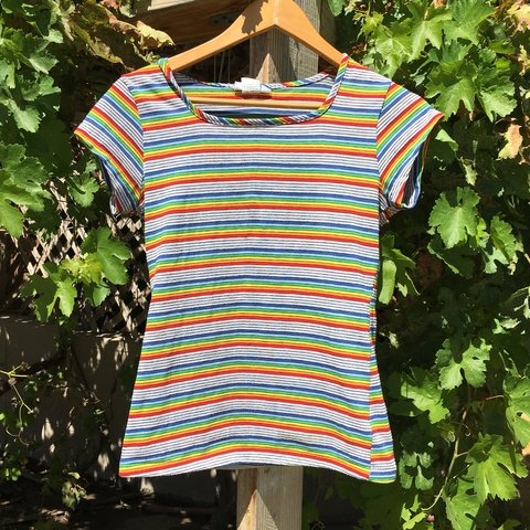 510cf75999b Vintage 70s Rainbow Striped Shirt! Very beautiful and in - Depop