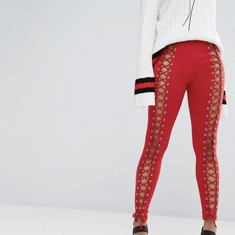 db71cd5d531a6 @lucie_jsmith. 4 months ago. Leeds, United Kingdom. Red bone lace up front  leggings ...